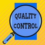 Handwriting text writing Quality Control. Concept meaning insure that product or service sold due to standards Round. Handwriting text writing Quality Control vector illustration