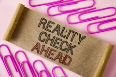 Handwriting text writing Reality Check Ahead. Concept meaning Unveil truth knowing actuality avoid being sceptical written on Fold. Handwriting text writing stock image