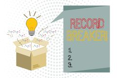 Handwriting text writing Record Breaker. Concept meaning someone or something that beats previous best result.  stock illustration