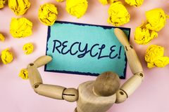 Handwriting text writing Recycle Motivational Call. Concept meaning Convderting waste into reusable material written on Sticky not. Handwriting text writing Stock Photos