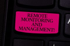 Handwriting text writing Remote Monitoring And Management. Concept meaning Long distance monitor data analysisager. Keyboard key Intention to create computer stock image