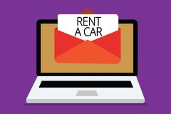Handwriting text writing Rent A Car. Concept meaning paying for temporary vehicle usage from one day to months Computer receiving