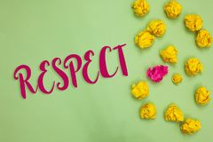Handwriting text writing Respect. Concept meaning Feeling of deep admiration for someone or something Appreciation Paper object lo. Ve ideas cool crumpled papers Stock Photo