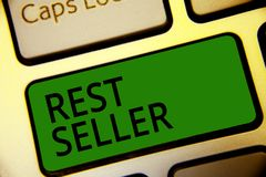 Handwriting text writing Rest Seller. Concept meaning one feature or the perceived benefit good which makes it unique Keyboard gre. En key Intention create royalty free stock photo
