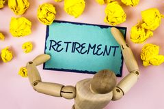 Handwriting text writing Retirement. Concept meaning Leaving Job Stop Ceasing to Work after reaching some age written on Sticky no. Handwriting text writing Royalty Free Stock Photo