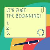 Handwriting text writing It S Is Just The Beginning. Concept meaning Only starting progressing preparing goals Blank. Square Color Board with Magnet Click royalty free illustration