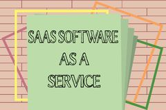 Handwriting text writing Saas Software As A Service. Concept meaning the use of cloud based App over the Internet.  vector illustration