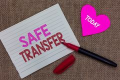 Handwriting text writing Safe Transfer. Concept meaning Wire Transfers electronically Not paper based Transaction Piece notebook p. Aper heart jute background stock photo