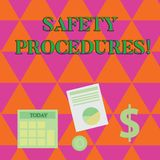 Handwriting text writing Safety Procedures. Concept meaning Follow rules and regulations for workplace security. Handwriting text writing Safety Procedures vector illustration