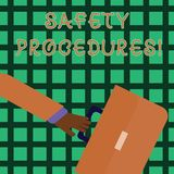 Handwriting text writing Safety Procedures. Concept meaning Follow rules and regulations for workplace security Rushing. Handwriting text writing Safety stock illustration