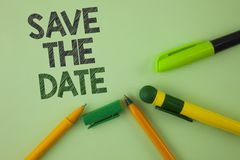 Handwriting text writing Save The Date. Concept meaning Organizing events well make day special by event organizers written on Pla. Handwriting text writing Save Stock Images