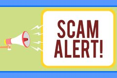 Handwriting Text Writing Scam Alert. Concept Meaning Warning Someone About Scheme Or Fraud Notice Any Unusual Man Holding Megaphon Royalty Free Stock Images