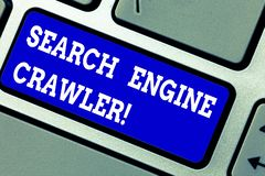 Handwriting text writing Search Engine Crawler. Concept meaning program or automated script that browses the web. Keyboard key Intention to create computer royalty free stock photo