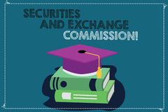 Handwriting text writing Securities And Exchange Commission. Concept meaning Safety exchanging commissions financial. Color Graduation Hat with Tassel 3D vector illustration