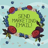 Handwriting text writing Send Marketing Email. Concept meaning targeting of consumers through electronic mail Floral. Wreath made of Tiny Seeds Small Glossy stock illustration