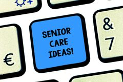 Handwriting text writing Senior Care Ideas. Concept meaning encompasses any services required to assist old citizens. Keyboard key Intention to create computer stock image