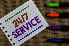 Handwriting text writing 24 7 Service. Concept meaning Always available to serve Runs constantly without disruption Notebook Paper. Important reminder royalty free stock images