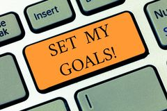 Handwriting text writing Setting My Goals. Concept meaning create something that want accomplish and establishing. Handwriting text writing Setting My Goals royalty free stock photos