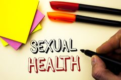 Handwriting text writing Sexual Health. Concept meaning STD prevention Use Protection Healthy Habits Sex Care written by Marker on. Handwriting text writing stock image