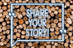 Handwriting text writing Share Your Story. Concept meaning Experience Nostalgia Memory Personal Wooden background. Handwriting text writing Share Your Story stock photos