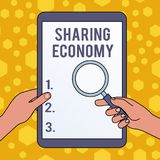 Handwriting text writing Sharing Economy. Concept meaning economic model based on providing access to goods Hands. Handwriting text writing Sharing Economy royalty free illustration