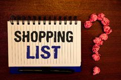 Handwriting text writing Shopping List. Concept meaning Products Groceries you need to buy Supermarket Checklist. Handwriting textss writing Shopping List Stock Photos