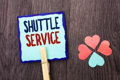 Handwriting text writing Shuttle Service. Concept meaning Transportation Offer Vacational Travel Tourism Vehicle written on Sticky. Handwriting text writing Stock Photos