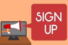 Handwriting text writing Sign Up. Concept meaning use your information to register in website team college or blog Man holding Meg. Aphone loudspeaker computer stock image