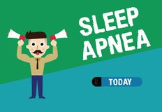 Handwriting text writing Sleep Apnea. Concept meaning The temporary stoppage of breathing during sleep Snoring stock illustration