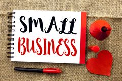 Handwriting text writing Small Business. Concept meaning Little Shop Starting Industry Entrepreneur Studio Store written on Notebo. Handwriting text writing Stock Photos