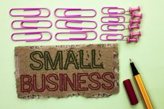 Handwriting text writing Small Business. Concept meaning Little Shop Starting Industry Entrepreneur Studio Store written on Tear C. Handwriting text writing Royalty Free Stock Image