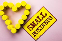 Handwriting text writing Small Business. Concept meaning Little Shop Starting Industry Entrepreneur Studio Store written on Yellow. Handwriting text writing Stock Photography