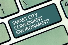 Handwriting text writing Smart City Convenient Environment. Concept meaning Connected technological modern cities. Keyboard key Intention to create computer stock image