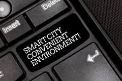 Handwriting text writing Smart City Convenient Environment. Concept meaning Connected technological modern cities. Keyboard key Intention to create computer stock images