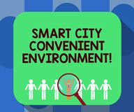 Handwriting text writing Smart City Convenient Environment. Concept meaning Connected technological modern cities. Magnifying Glass Over Chosen Man Figure Among royalty free illustration