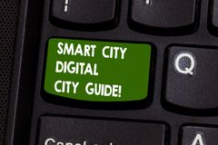Handwriting text writing Smart City Digital City Guide. Concept meaning Connected technological modern cities Keyboard. Key Intention to create computer message stock illustration