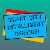 Handwriting text writing Smart City Intelligent Service. Concept meaning Connected technological modern cities Pile of. Blank Rectangular Outlined Different vector illustration