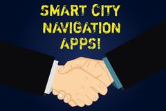 Handwriting text writing Smart City Navigation Apps. Concept meaning Connected technological advanced modern cities Hu. Analysis Shaking Hands on Agreement Sign royalty free illustration