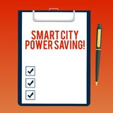 Handwriting text writing Smart City Power Saving. Concept meaning Connected technological cities electricity savings. Blank Sheet of Bond Paper on Clipboard stock illustration