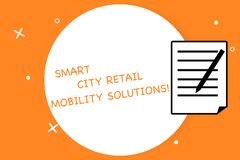 Handwriting text writing Smart City Retail Mobility Solutions. Concept meaning Connected technological modern cities Sheet of Pad. Paper with Lines and Margin vector illustration