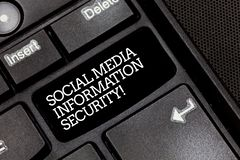 Handwriting text writing Social Media Information Security. Concept meaning Safety in online multimedia services stock photo