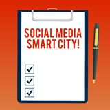 Handwriting text writing Social Media Smart City. Concept meaning Connected technological advanced modern cities Blank. Sheet of Bond Paper on Clipboard with stock illustration