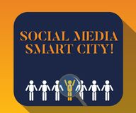 Handwriting text writing Social Media Smart City. Concept meaning Connected technological advanced modern cities. Magnifying Glass Over Chosen Man Figure Among stock illustration