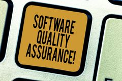 Handwriting text writing Software Quality Assurance. Concept meaning Ensuring quality in software engineering process royalty free stock photography