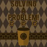 Handwriting text writing Solving A Problem. Concept meaning include mathematical or systematic operation find solution. 3D Coffee To Go Cup with Lid Cover and vector illustration