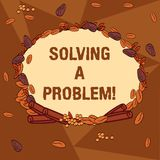 Handwriting text writing Solving A Problem. Concept meaning include mathematical or systematic operation find solution. Wreath Made of Different Color Seeds vector illustration