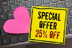 Handwriting text writing Special Offer 25 Off. Concept meaning Discounts promotion Sales Retail Marketing Offer Written. On black bordered yellow page touched stock photo