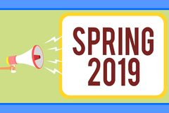 Handwriting Text Writing Spring 2019. Concept Meaning Time Of Year Where Flowers Rise Following Winter Season Man Holding Megaphon Royalty Free Stock Images