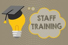 Handwriting text writing Staff Training. Concept meaning A program that helps employees to learn specific knowledge.  Royalty Free Illustration