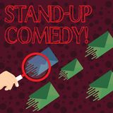 Handwriting text writing Stand Up Comedy. Concept meaning comic style in which comedian performs front live audience stock illustration